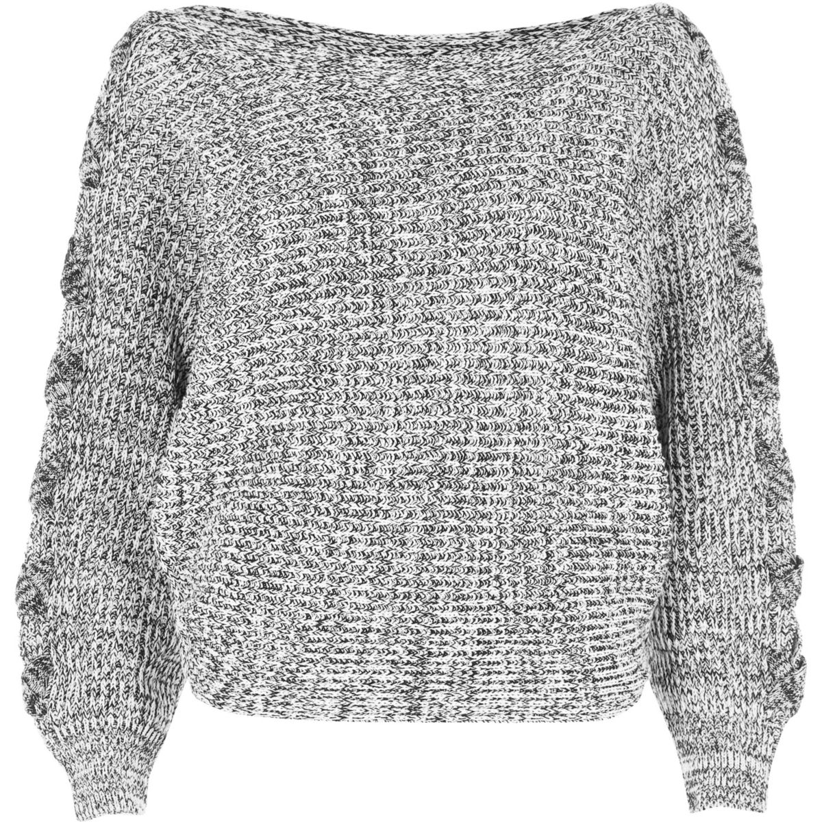 Grey batwing knit sweater