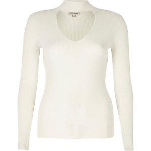 Cream ribbed choker top