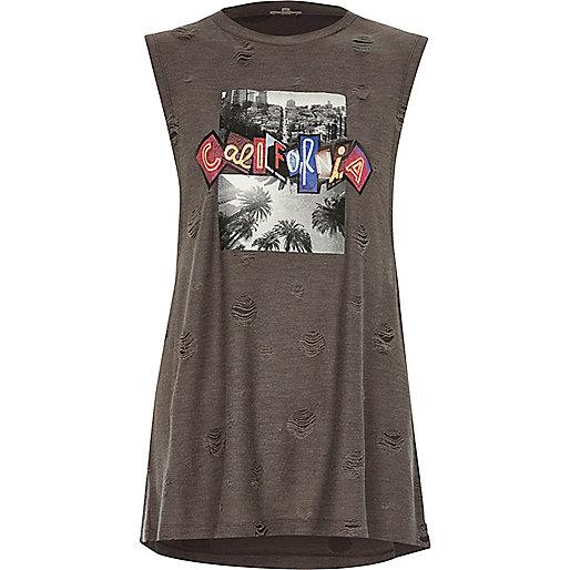 Grey California ripped sleeveless T-shirt