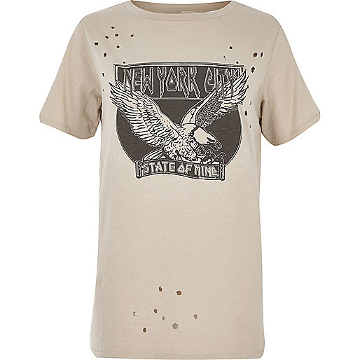Beige New York print distressed T-shirt