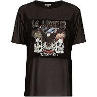 T-shirt boyfriend en tulle imprimé groupe noir