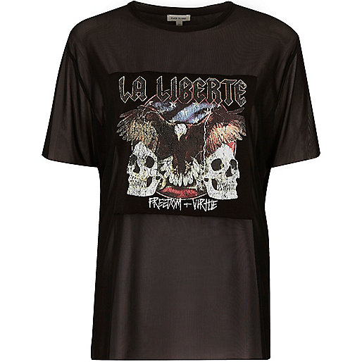 Black mesh band print boyfriend T-shirt