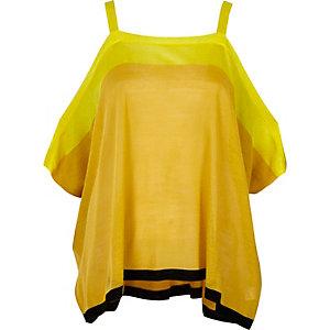 Gele schouderloze top met kleurvlakken en ongelijke zoom