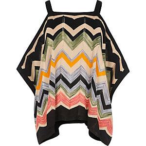 Black knit chevron cold shoulder top