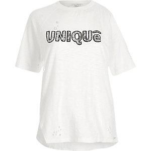 Cream sequin 'unique' print loose T-shirt