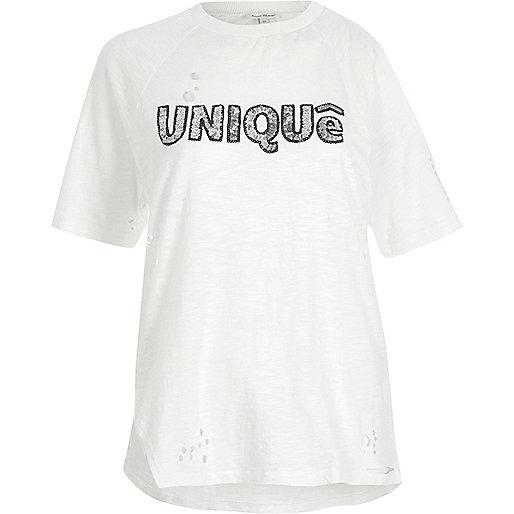 T-shirt ample crème imprimé Unique à sequins