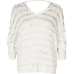 White ladder knit batwing sweater