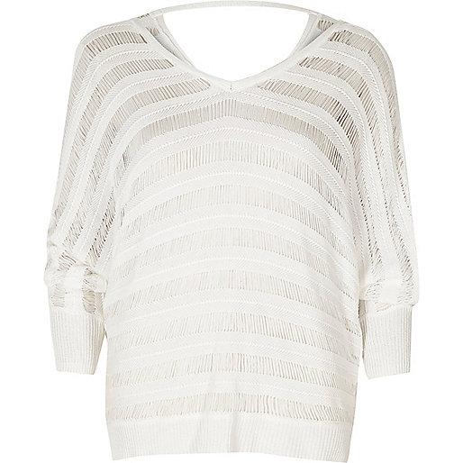 White ladder knit batwing sweater