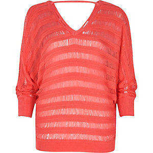 Coral ladder knit batwing jumper