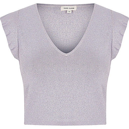 Light purple glitter frill shoulder crop top