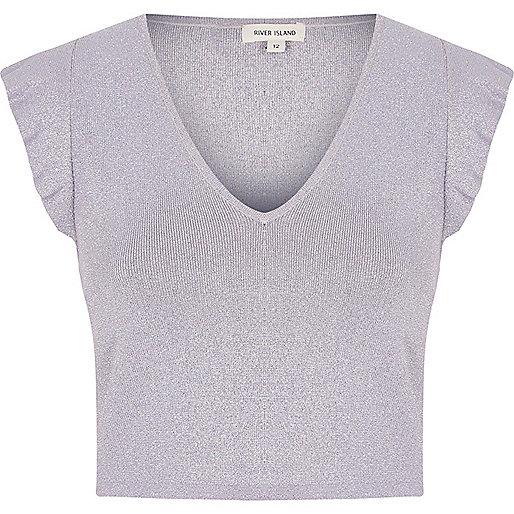 Light purple glitter frill shoulder crop top
