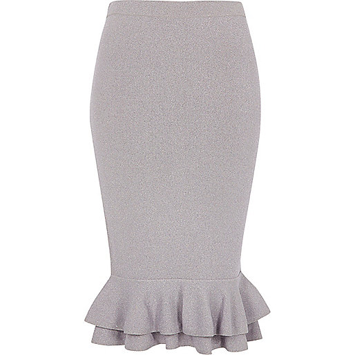 Light purple metallic frill hem pencil skirt
