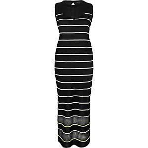 Black stripe sleeveless bodycon midi dress