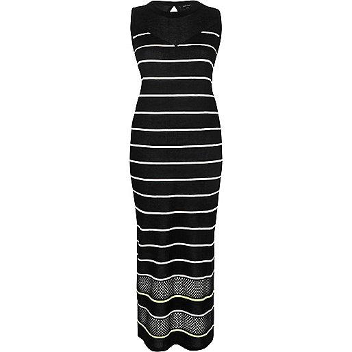 Black stripe sleeveless bodycon midi dress