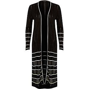 Black knit stripe longline cardigan
