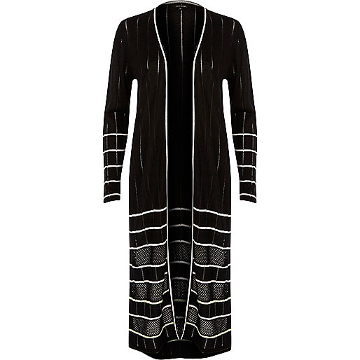 Black knit stripe longline cardigan