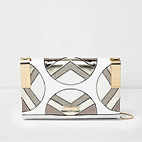 White and gold metallic hinge clutch