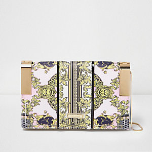 Pink scarf print metal hinge clutch bag