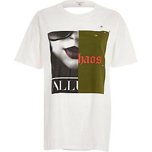 White print slash back T-shirt