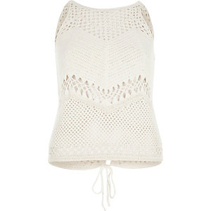 Cream crochet open back tank top