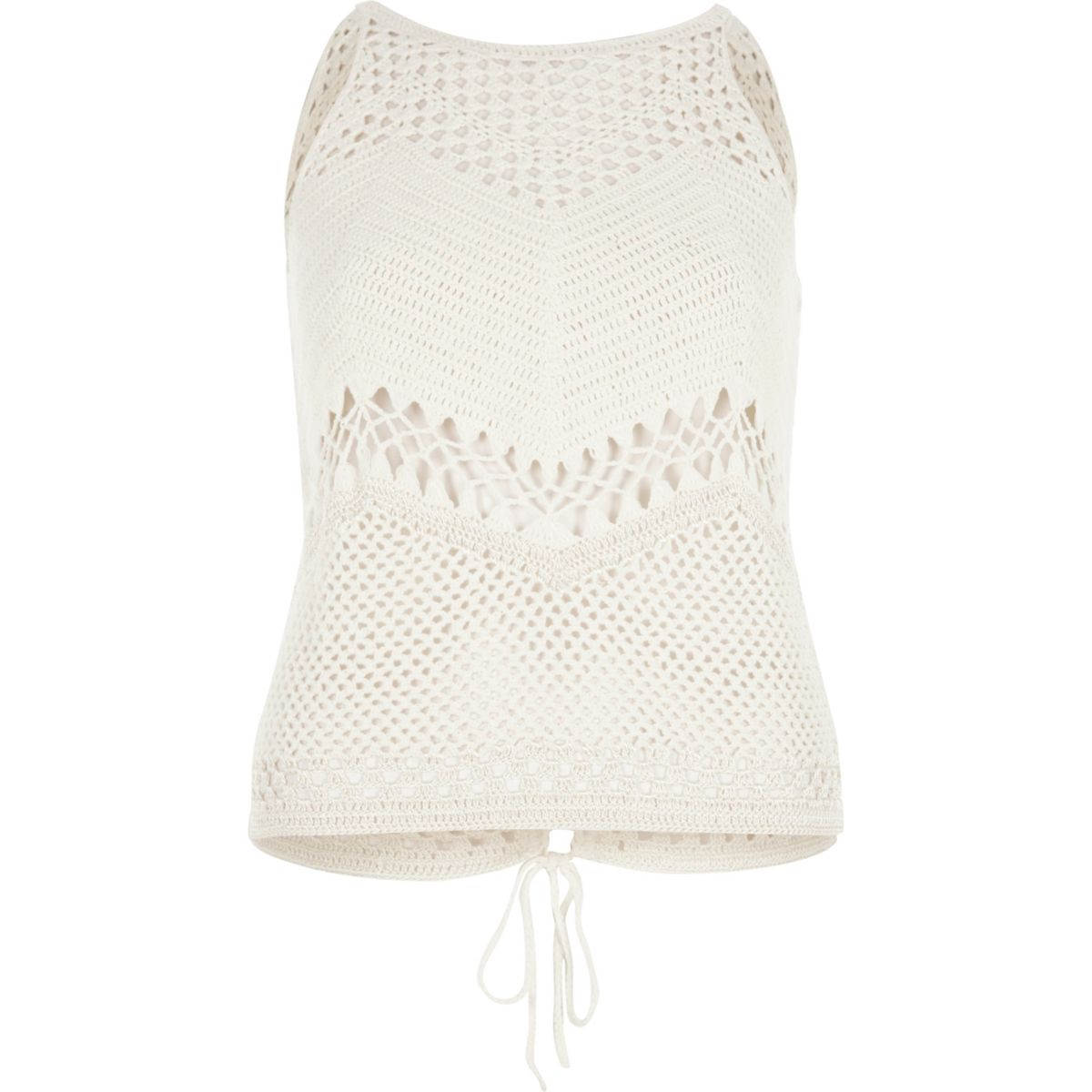 Cream crochet open back tank top