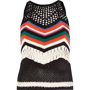 Black multi colored crochet open back top