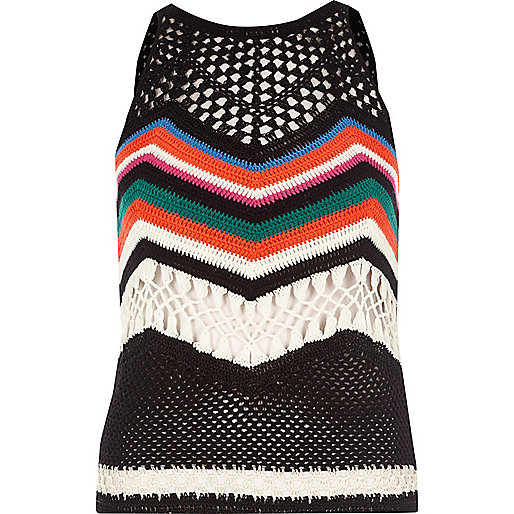 Black multi coloured crochet open back top