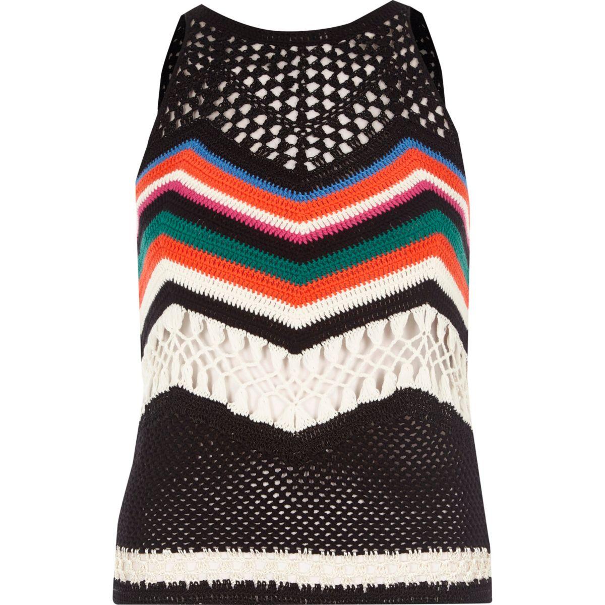 Black multi colored crochet open back top