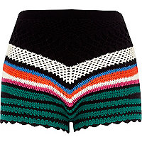 Black multi colored crochet shorts