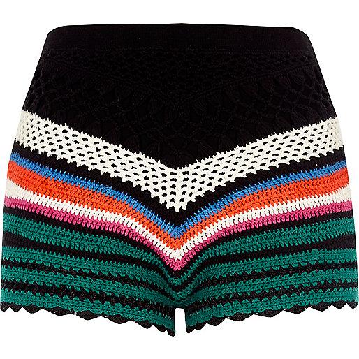 Black multi coloured crochet shorts
