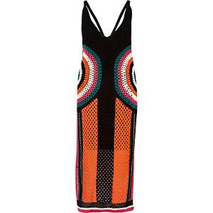 Robe longue noire colour block au crochet