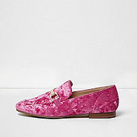 Bright pink velvet loafers