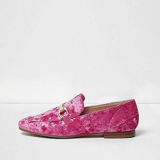 Bright pink velvet loafers