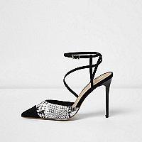 Chaussures à brides imprimé peau de serpent noires avec talons