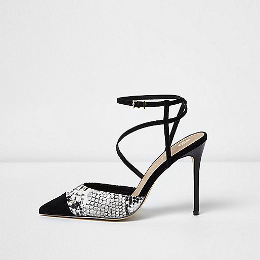 Black snake skin print strappy heels