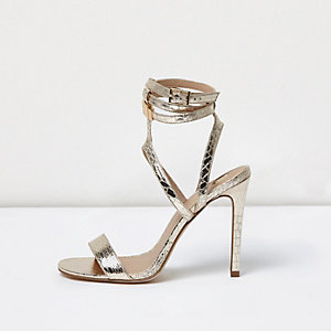 Gold wide fit metallic caged strappy sandals