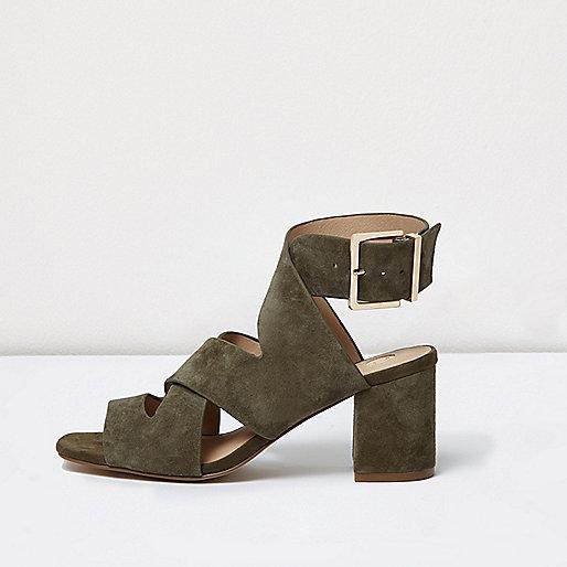 Khaki green crossover block heel sandals