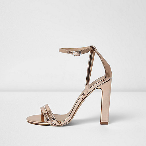 Gold metallic barely there cut out sandals