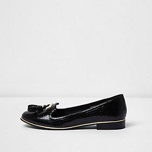 Black wide fit patent croc tassel loafers