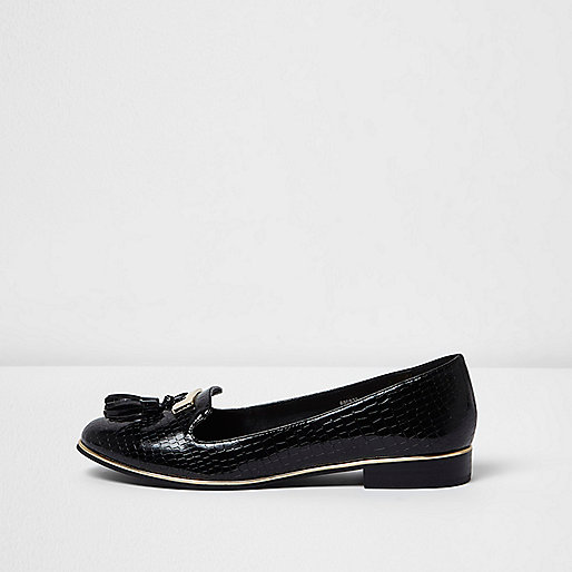 Black wide fit patent croc tassel loafers