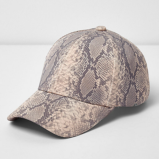 Beige snake print baseball cap