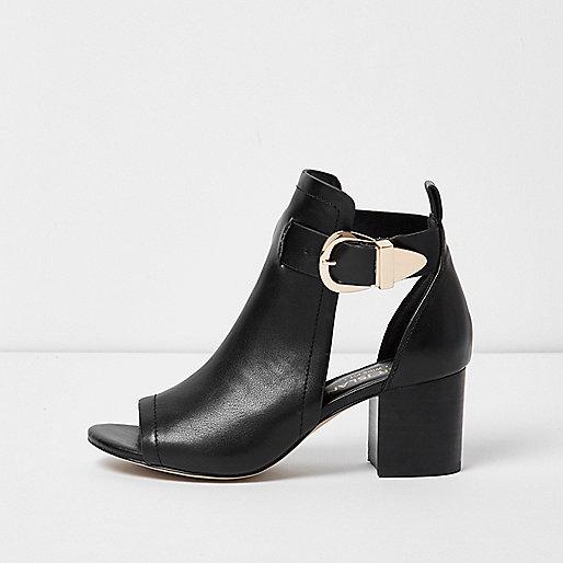 Black buckle wide fit shoe boot