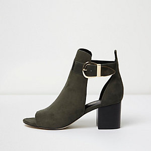 Khaki green buckle wide fit shoe boot