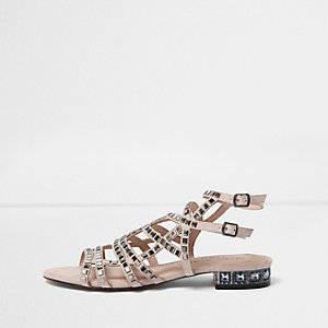 Blush pink embellished cage wide fit sandals