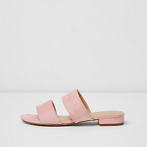 Pink faux suede two strap wide fit mules
