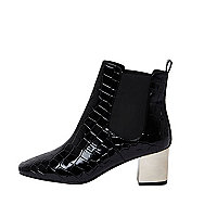 Black croc wide fit metallic heel boots