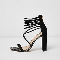 Black strappy suede leather block heel sandal