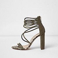 Khaki suede caged block heel sandals