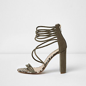 Khaki suede caged block heel sandals