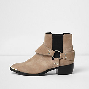 Nude suede western strap ankle boots
